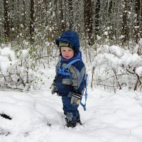 Погулять по снегу в мае (малыш Лёва). :: Милешкин Владимир Алексеевич