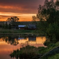 Закат в деревне :: Галина Шепелева