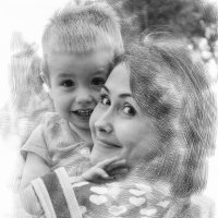 Молодая мама с ребенком, имитация рисунка :: vladimir