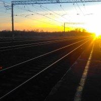 Закат на железной дороге :: Евгения Трушкина