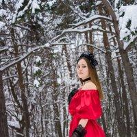 Девушка зимой в лесу с венком в красном длинном платье :: Ирина Вайнбранд