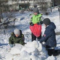 Строители снежной крепости :: Дмитрий Никитин