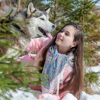 Фотосессия с хаски весной :: Наталья