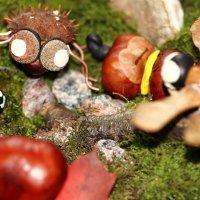 Паук и божья коровка из каштанов, шляпок желудей, проволок и пластелина :: Dmitry Saltykov