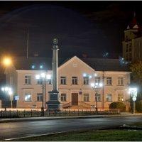 Ночной Ишим. Вид на двенадцатиметровую стелу с гербом Ишима и золотым карасём :: Александр Максимов