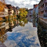 Нюрнбергские осенние отражения ,листья  плывут,как  кораблики ! :: backareva.irina Бакарева