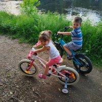 Трое на велосипедах (третий - фотоограф) :: Андрей Лукьянов