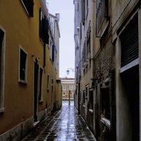 Переулок после дождя. В конце переулка канал и причальный столб... :: ВЛАДИМИР К.