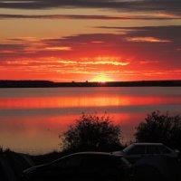 Закат на Некрасовском озере :: Геннадий Ячменев