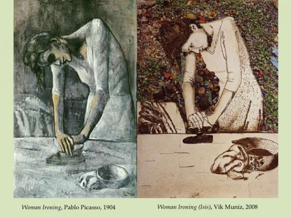 Woman Ironing, Pablo Picasso, 1904 Woman Ironing (Isis), Vik Muniz, 2008