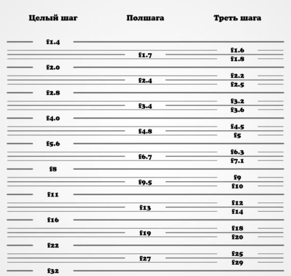 Диафрагма фотоаппарата - таблица со шкалой целых и дробных f-значений