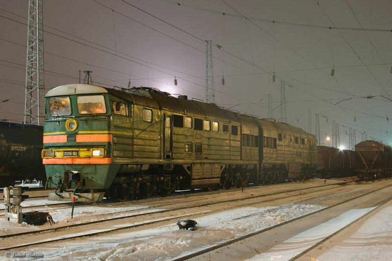 Diesel locomotive 2TE116-503 with train on Likhaya
