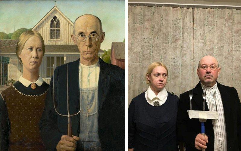 Люди изображают героев знаменитых картин - №10