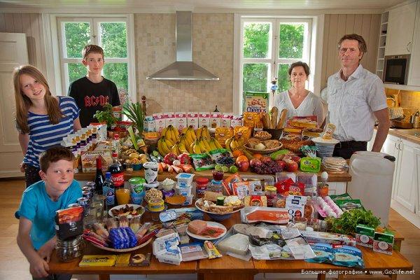Недельный набор продуктов у разных народов в семейных фото - №1