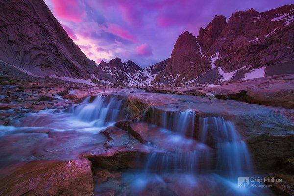 красота природы мира - Водопад на закате