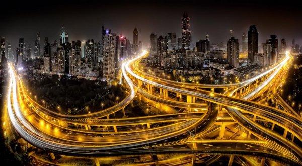 красивые городские пейзажи фото ночью